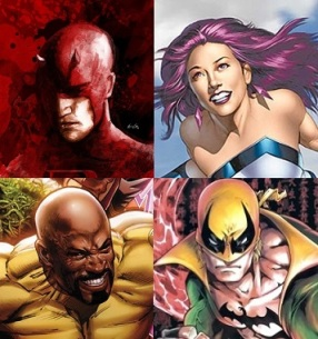 Da esquerda para a direita: Demolidor, Jessica Jones, Luke Cage e Punho de Ferro