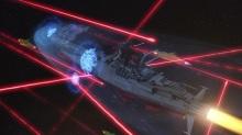 O Yamato em meio a uma  batalha espacial digna de Ano Novo