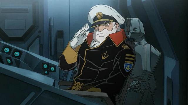 Capitão Okita: qualquer semelhança com o Comandante Adama não é mera coincidência