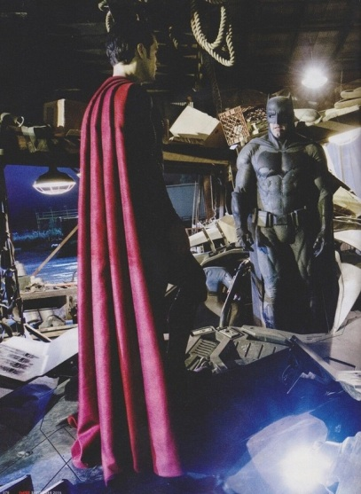 Henry Cavill (Super) e Ben Affleck (Bat) no set