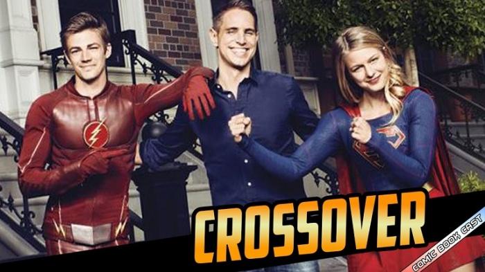 Grant Gustin (Flash), o produtor Greg Berlanti e Melissa Benoist (Supergirl)