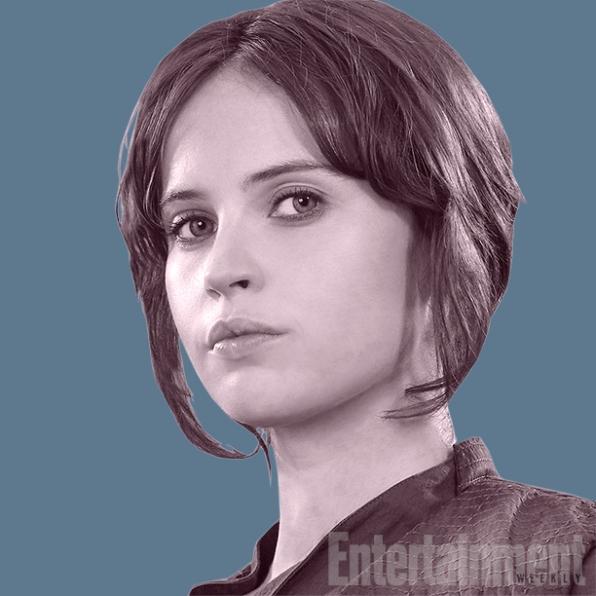Jyn Erso (Felicity Jones): Ela tem um passado duvidoso. Ela foi detida pela Rebelião e está sendo dada a ela a oportunidade de ser útil. E por ser útil, sua sentença pode ser alterada.